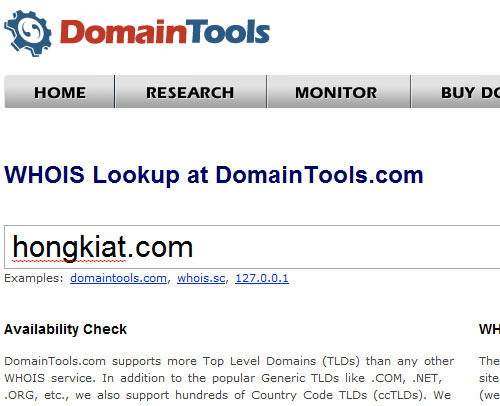 WHOIS information from Domain Tools