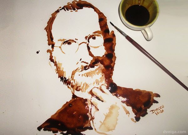 steve jobs - coffee painting