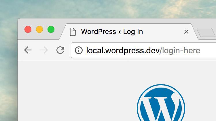 WordPress login form with the custom URL