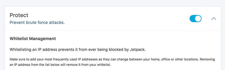 Jetpack Protect module menu in the Settings