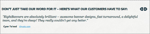 Design services Right Banners! testimonials