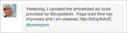 Webpage BuySellAds testimonials and press releases