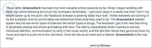 Press releases testimonials for Grooveshark app