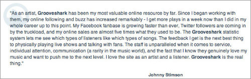 Press releases testimonials for Grooveshark app