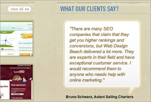 Web Design Beach client testimonial box