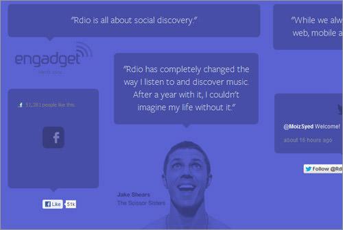 Rdio web app testimonial boxes blockquotes