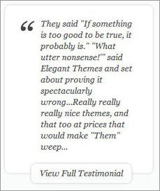Design testimonials Elegant Themes website