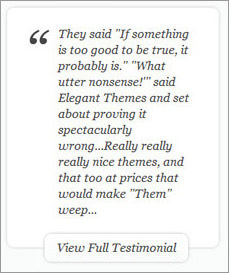 Design testimonials Elegant Themes website