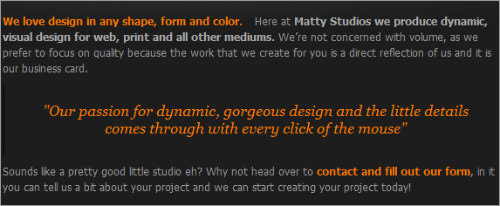 Website layouts Matty Studios designs