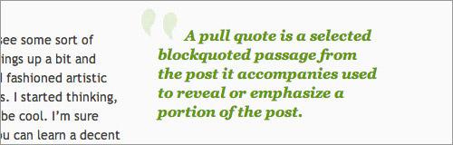 Green Beast Blog WordPress pull-quote styles