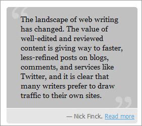 Web Magazine blockquote styles inline