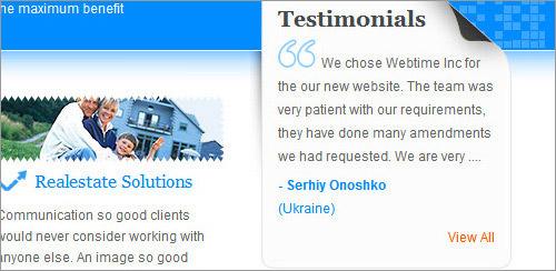 Webtime customer testimonial sidebar block