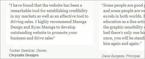 Web design clients testimonials Masuga Portfolio