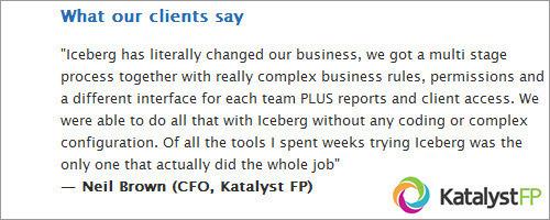 GetIceberg App client testimonials