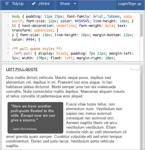open source pull-quotes with CSS3 on JS Fiddle