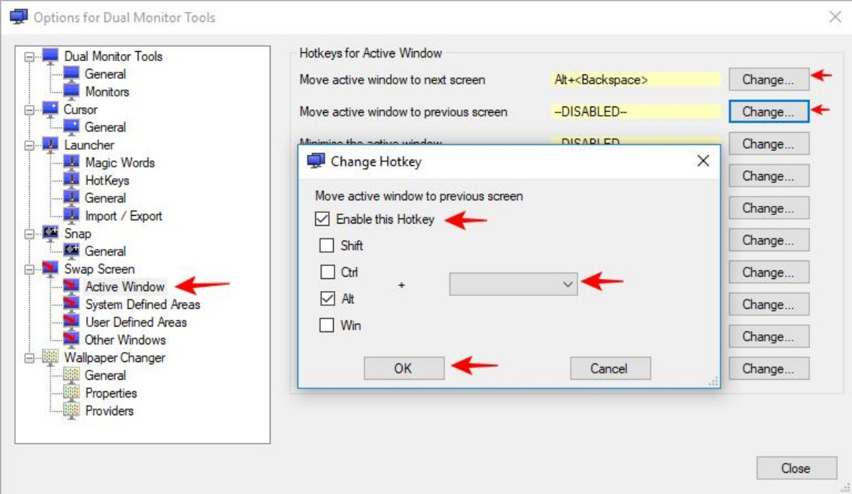 Settings of Dual Monitor Tools