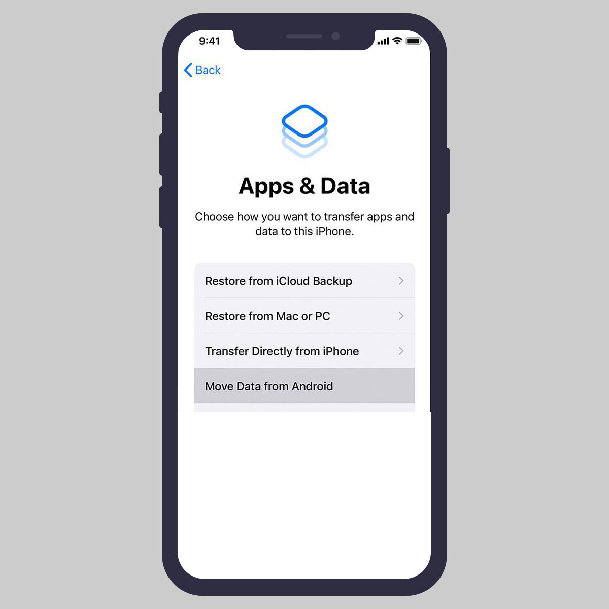 Move Data from Android while setting up iOS