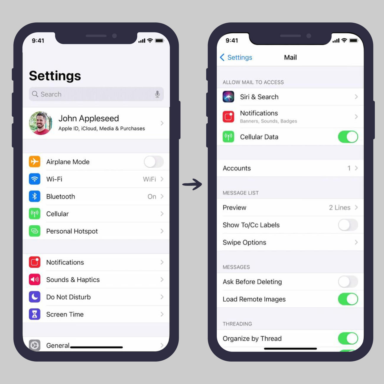 Open Settings and go to Mail in iOS