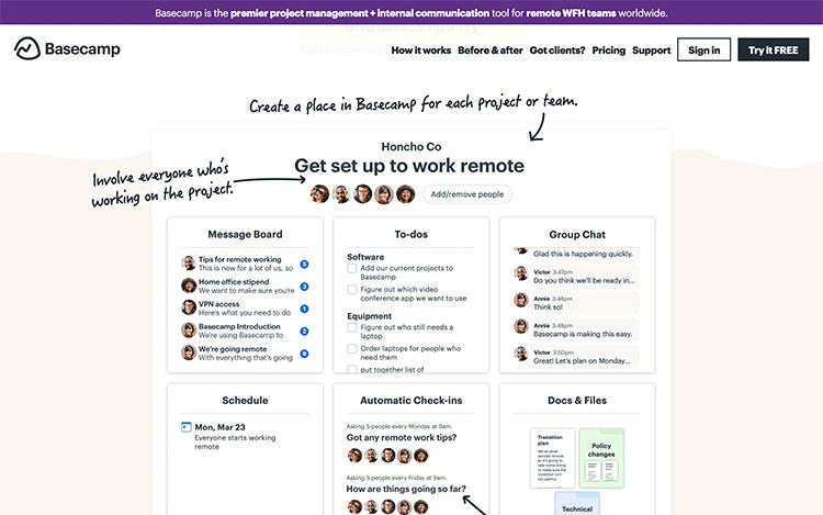 Basecamp team collaboration chat application