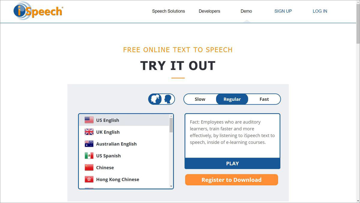 iSpeech is a text to speech voice synthesis tool