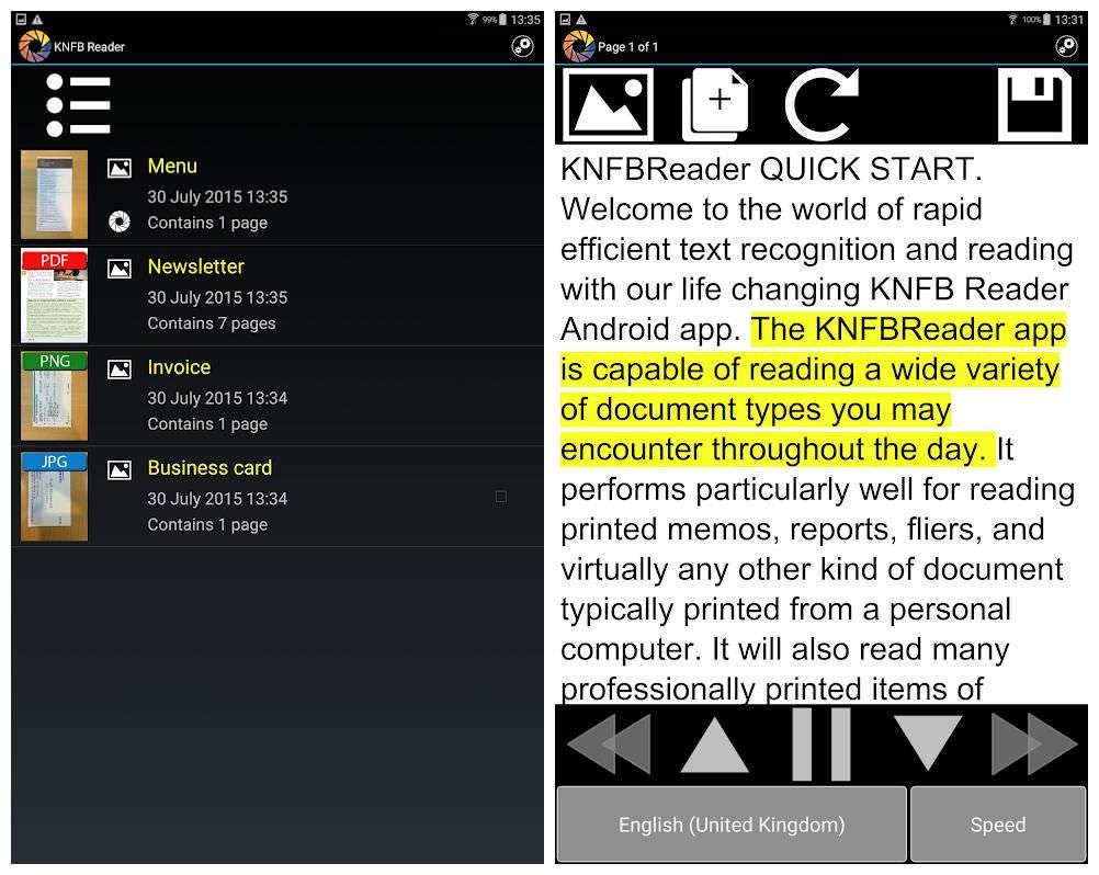 KNFB Reader is an easy text to speech converter