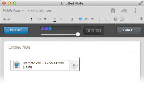 evernote audio tag