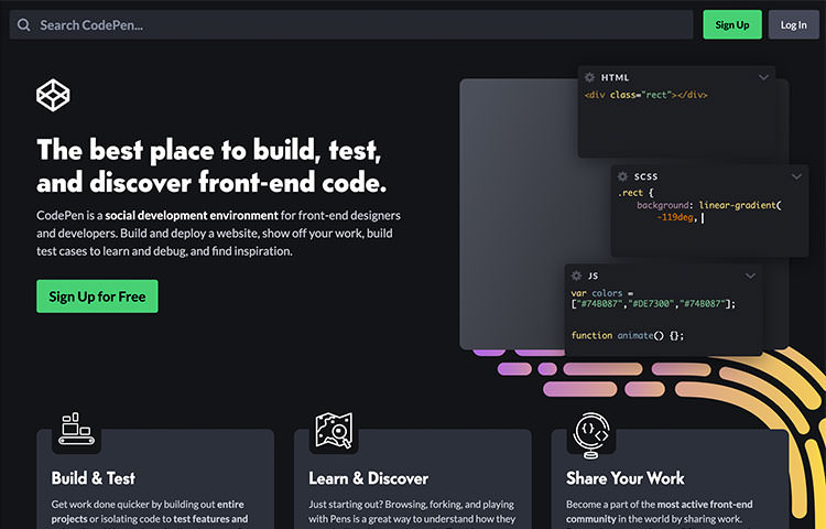 CodePen website homepage