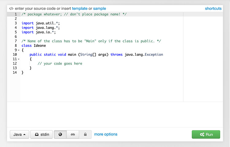 IDEOne Website online editor code highlighting and debugging