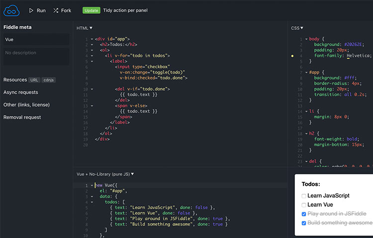jsFiddle coding HTML5 and JavaScript