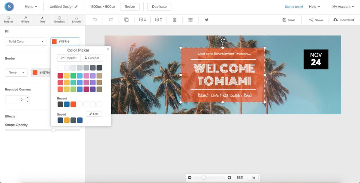 Snappa has a functional graphic editor