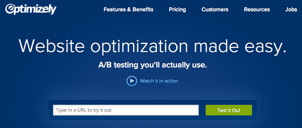 optimizely website homepage ab testing service startup