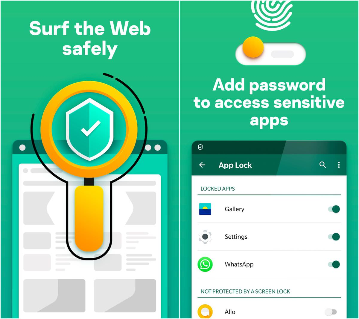 Kaspersky Antivirus offers Web Filter and App Lock