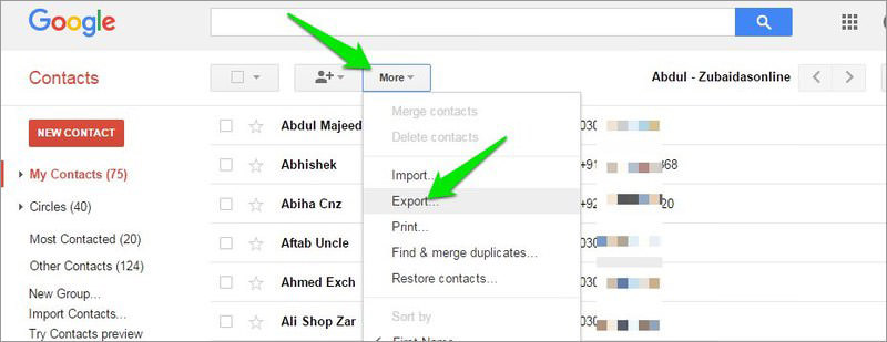 exporter google contacts