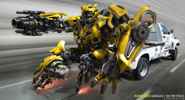 bumblebee on tow truck