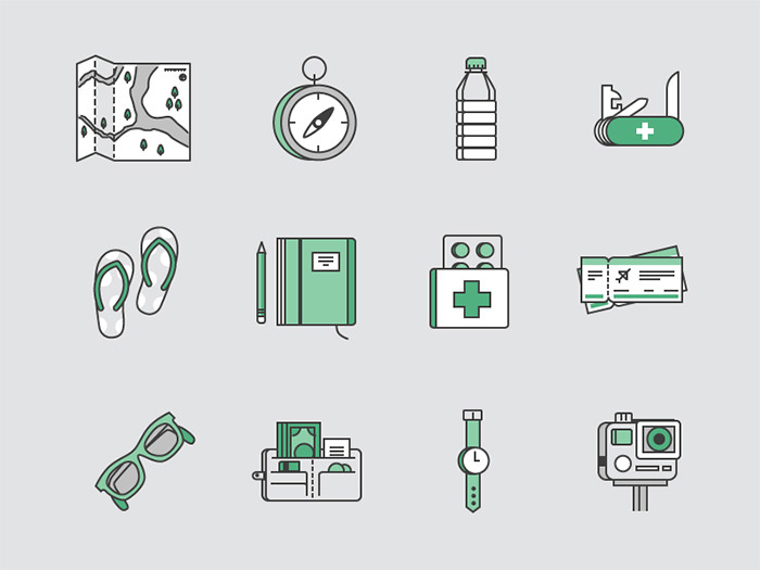 travel-kit-icons-set-sketch
