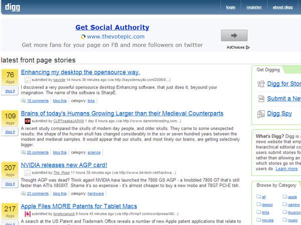 digg february 2006 screenshot layout design