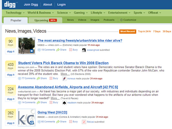 old digg v3 screenshot october 2008