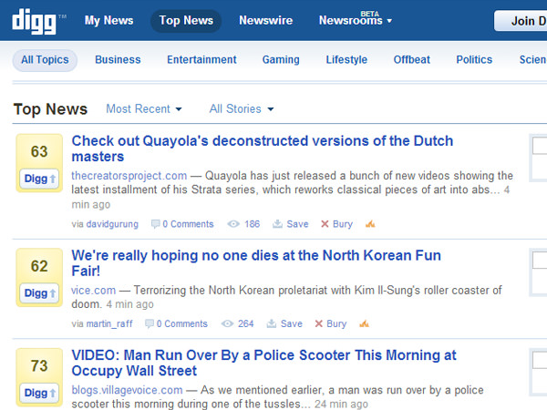 digg v4 screenshot october 2011 layout