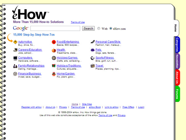 ehow website design august 2004 screenshot