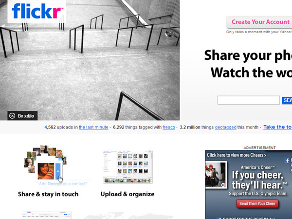 august 2008 flickr website design homepage screenshot
