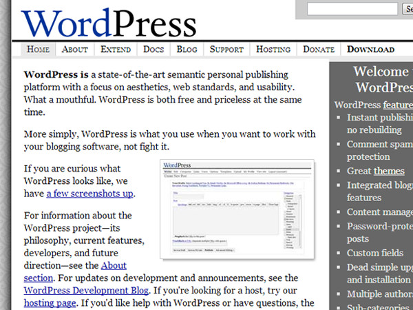 wordpress original 2005 layout screenshot website