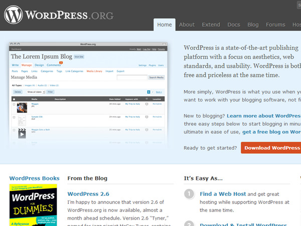 wordpress august 2008 screenshot website redesign