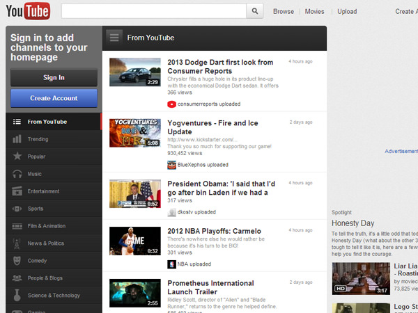 youtube april 2012 redesign screenshot layout
