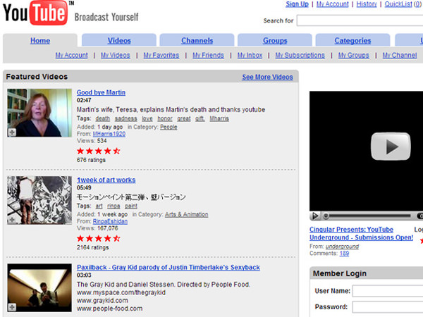 youtube screenshot october 2006 layout