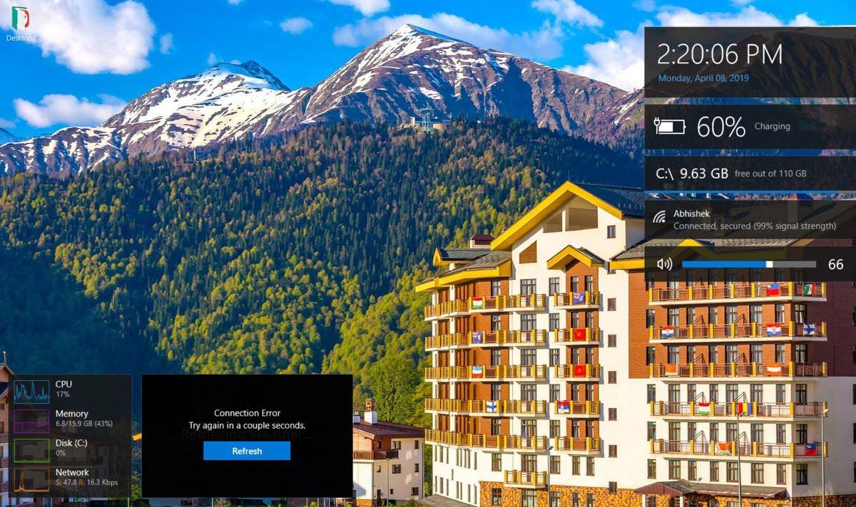 Win10 Widgets on the desktop in Windows 10