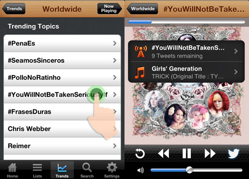 choose which trending topics and listen to it