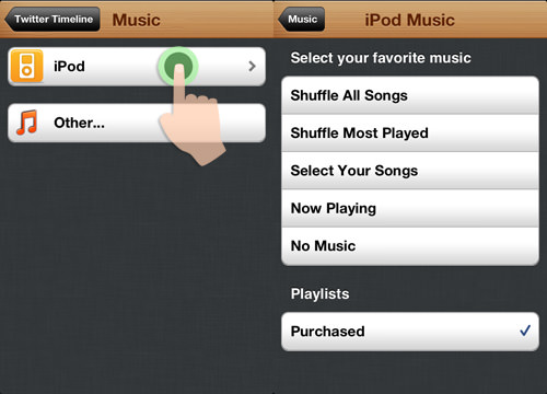 setting ipod music