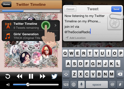 tweet that you're using the social radio