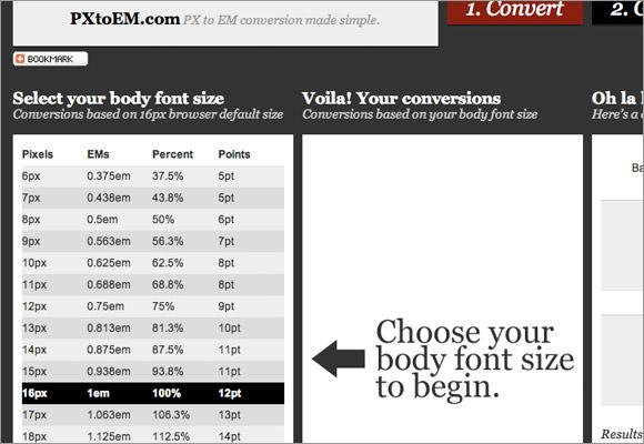 Pixels to ems converter