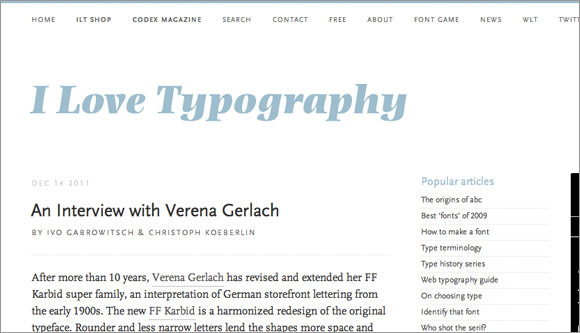 i love typography web blog design